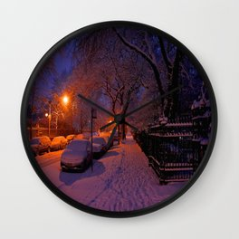 Chicago in Snow: White Drapery (Chicago Winter Collection) Wall Clock