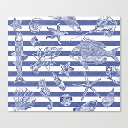 Sea things, blue striped design Canvas Print