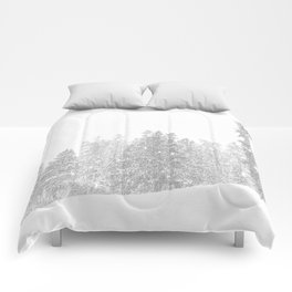 Snowy Slope // Mountain Ski Landscape Photography Black and White Snowboarding Winter Decor Comforters