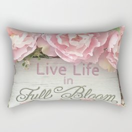 Shabby Chic Cottage Pink Peonies Inspirational Art Print Home Decor Rectangular Pillow