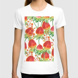 Watercolor hand painted red orange yellow tulip flowers T-shirt
