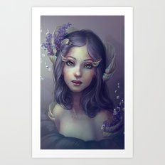 Lavender and Shells Art Print
