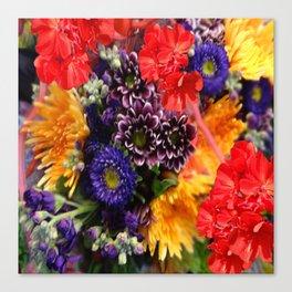 red geraniums flowers floral bouquet Canvas Print
