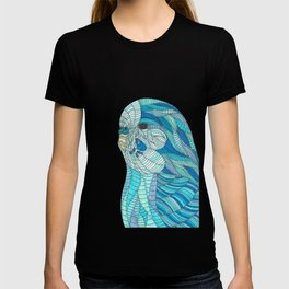 'Stained Glass Budgie' Ombre Blue Line work Geometric Illustrated Budgie T-shirt