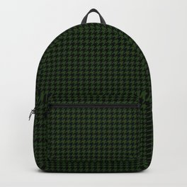 Dark Forest Green and Black Houndstooth Check Backpack