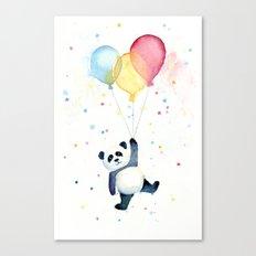 Birthday Panda Balloons Cute Animal Watercolor Canvas Print