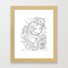 Sea Serpent - ink Framed Art Print