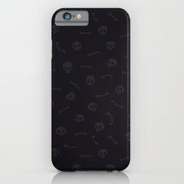 Gray Cartoon Skulls on Black Background Seamless Pattern iPhone Case