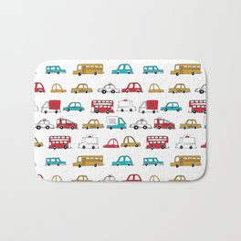 Cars trucks buses city highway transportation illustration cute kids room gifts Bath Mat