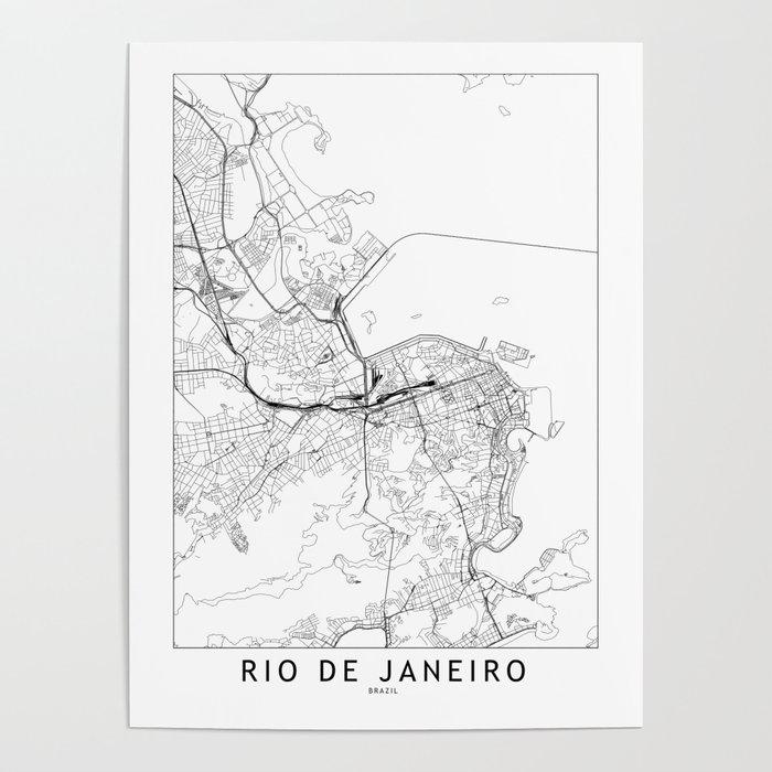Rio De Janeiro White Map Poster