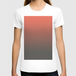 Pantone Living Coral & Beluga Gray Gradient Ombre Blend, Soft Horizontal Line T-shirt