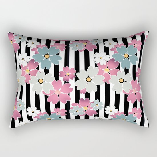 The floral pattern on striped background. Rectangular Pillow