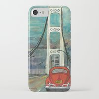 volkswagon iPhone & iPod Cases featuring VW Bug on Mackinac Bridge by Barb Laskey Studio
