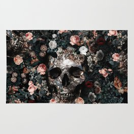Skull and Floral pattern Rug