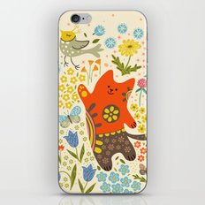 Cat and a bird. iPhone & iPod Skin
