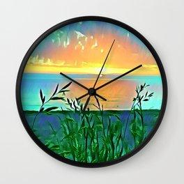 Golden Morning Glory Wall Clock