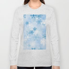 Blue White Winter Snowflakes Design Long Sleeve T-shirt