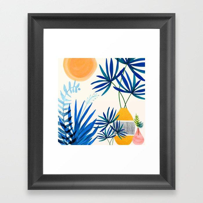 Blue Morocco Whimsy - Sunny Garden Art Framed Art Print