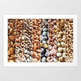 Group Of Nuts As Background. Walnuts, Cashew, Pistachio, Almonds, Hazelnuts, Peanuts And Chickpeas. Art Print