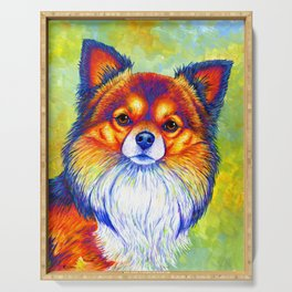 Colorful Long Haired Chihuahua Dog Serving Tray