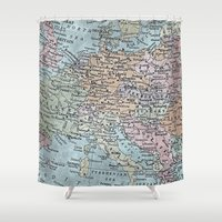 europe Shower Curtains featuring old map of Europe by inourgardentoo