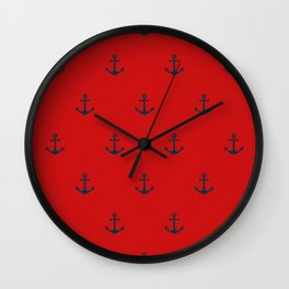 Navy Sailor Anchor Pattern Blue And Red Wall Clock
