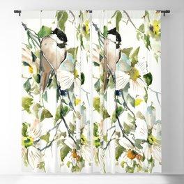 chickadee and dogwood, chickadee art design floral Blackout Curtain