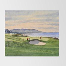 Pebble Beach Golf Course 9th Green Throw Blanket