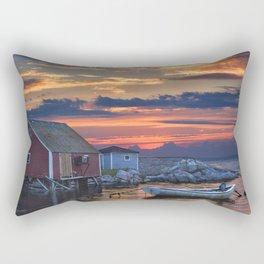 Last Light at Peggy's Cove Harbor Rectangular Pillow