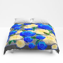 CHARCOAL GREY DECORATIVE WHITE & BLUE ROSE GARDEN Comforters