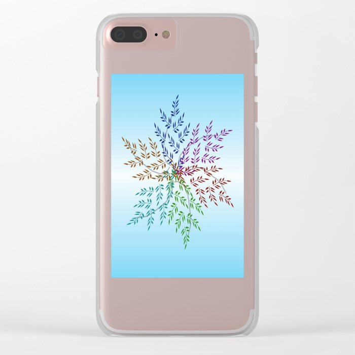 Leafy Rainbow Mandala Clear iPhone Case