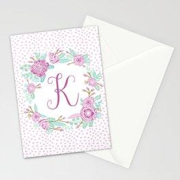 Monogram K - cute girls purple florals flower wreath, lilac florals, baby girl, baby blanket Stationery Cards