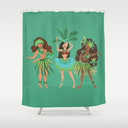 Luau Girls on Mint Shower Curtain