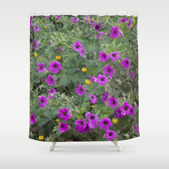 Wild Flowers In Purple And Yellow Shower Curtain By Jacqi