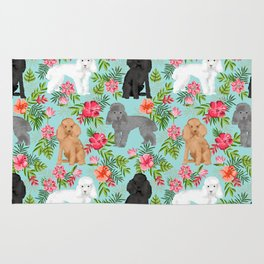 Toy Poodle dog breed pet portraits hawaiian floral flowers dog pattern custom dog lover art Rug