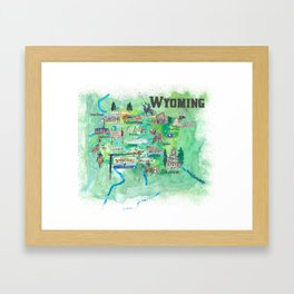USA Wyoming State Illustrated Travel Poster Favorite Map Framed Art Print