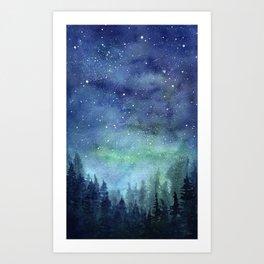Watercolor Galaxy Nebula Northern Lights Painting Art Print