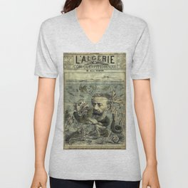Vintage Jules Verne Periodical Cover Unisex V-Neck
