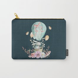 Whimsical Bunny in a Balloon Watercolor Design Carry-All Pouch