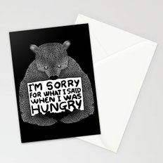 I'm Sorry For What I Said When I Was Hungry (Black) Stationery Cards