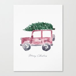 Merry Christmas - Red Jeep Wrangler with Christmas Tree Canvas Print
