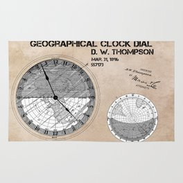 Geographical clock dial Thompson patent art Rug