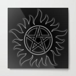 Anti Possession Sigil White Glow Metal Print