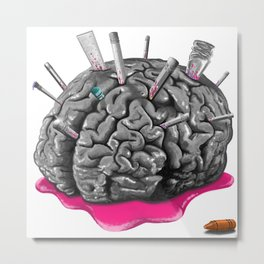 Sketchy Brain Metal Print