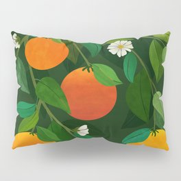 Oranges and Blossoms / Botanical Illustration Pillow Sham