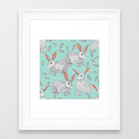 rabbits Framed Art Prints featuring Rabbits by Wee Jock