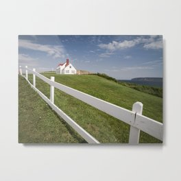 Small white wooden house, in Percé, Gaspésie, Québec, Canada. Metal Print