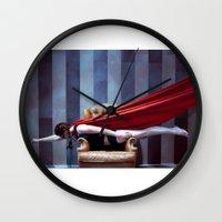 hero Wall Clocks featuring HERO by Bárbara Traver