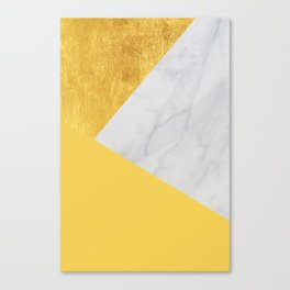 Carrara marble with gold and Pantone Primrose Yellow color Canvas Print