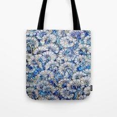 Silver Sparkle Fan Flower Pattern Tote Bag